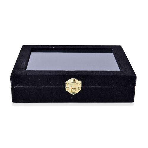 Black Colour 12 Sections Velvet Jewelry Box with Anti Tarnish Treatment (Size 20X15X4.5 Cm)
