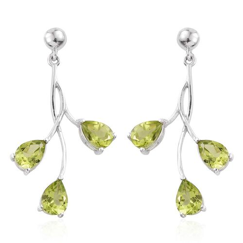 Designer Inspired- Hebei Peridot (Pear) Earrings (with Push Back) in Platinum Overlay Sterling Silver 4.750 Ct.