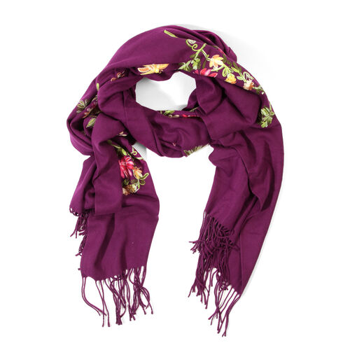 Yellow, Pink and Green Colour Floral and Leaves Embroidered Purple Colour Scarf with Tassels (Size 180x60 Cm)