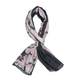 Navy, Pink and Green Colour Leaves Printed Scarf (Size 180x70 Cm)