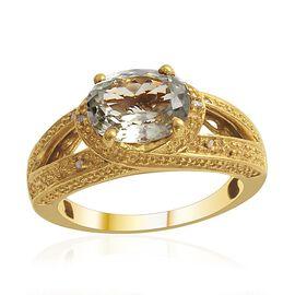 Green Sillimanite (Ovl 2.50 Ct), Diamond Ring in Gold Bond 2.530 Ct.