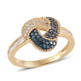 0.50 Carat White Black And Blue Diamond Love Knot Ring in 14K Gold Overlay Sterling Silver