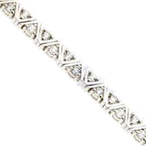 Simulated Diamond (Rnd) Bracelet in Sterling Silver (Size 7.5) 0.140 Ct.