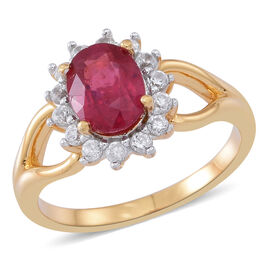 African Ruby (Ovl 1.75 Ct), White Zircon Ring in 14K Gold Overlay Sterling Silver 2.250 Ct.