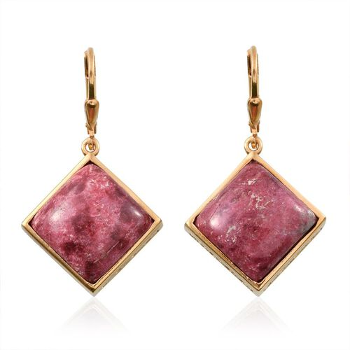 Norwegian Thulite (Sqr) Lever Back Earrings in 14K Gold Overlay Sterling Silver 24.500 Ct.
