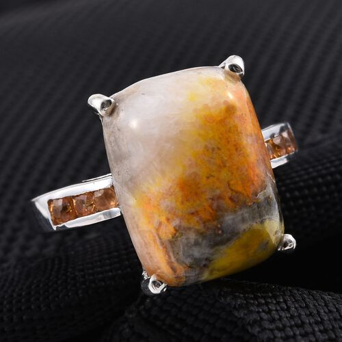 Bumble Bee Jasper (Cush 9.25 Ct), Yellow Sapphire Ring in Platinum Overlay Sterling Silver 9.500 Ct.