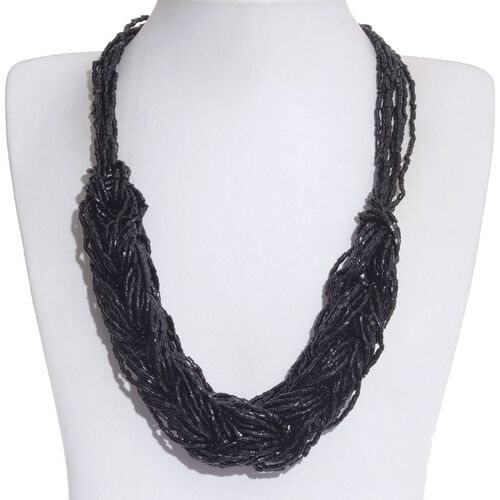 Jewels of India Black Glass Bead Braided Necklace (Size 10 with Extender) in Silver Tone