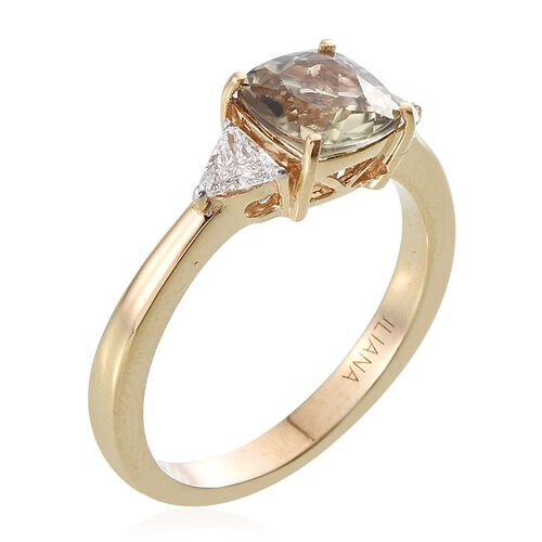 ILIANA 18K Y Gold Turkizite (Cush 1.90 Ct), Diamond Ring 2.150 Ct.