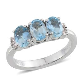 RHAPSODY 950 Platinum Santa Maria Aquamarine (Ovl 1.18 Ct), Diamond Ring 1.250 Ct.