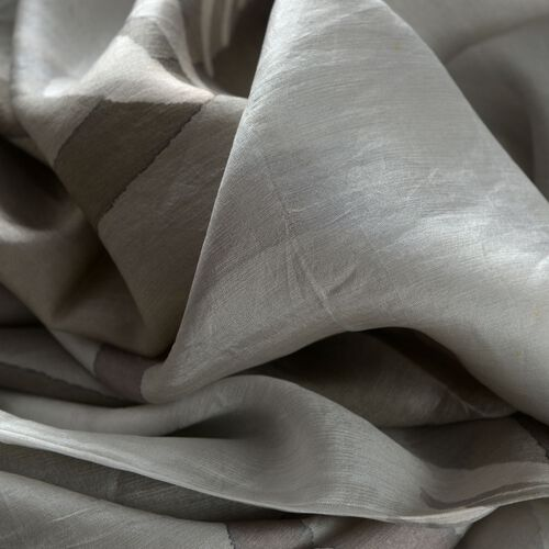 100% Mulberry Silk Grey and White Colour Abstract Pattern Pareo (Size 180x100 Cm)