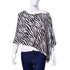 Black and White Colour Zebra Pattern Poncho with Button (Size 140x40 Cm)