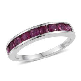 RHAPSODY 950 Platinum AAAA Burmese Ruby (Rnd) Half Eternity Band Ring 1.250 Ct.