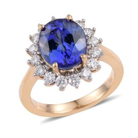 ILIANA 18K Y Gold AAA Tanzanite (Ovl 5.00 Ct), Diamond Ring 6.000 Ct.