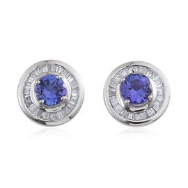 RHAPSODY 950 Platinum AAAA Tanzanite (Rnd), Diamond Stud Earrings (with Screw Back) 1.750 Ct.
