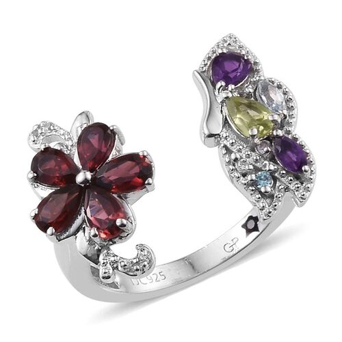 GP Rhodolite Garnet (Pear), Hebei Peridot, Amethyst, Sky Blue Topaz, Electric Swiss Blue Topaz, White Topaz and Kanchanaburi Blue Sapphire Ring in Platinum Overlay Sterling Silver 2.250 Ct.
