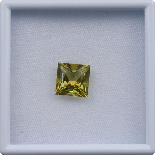Signity Khaki Green Topaz (Sqr 10 mm Princess Cut 3A) 5.410 Ct.
