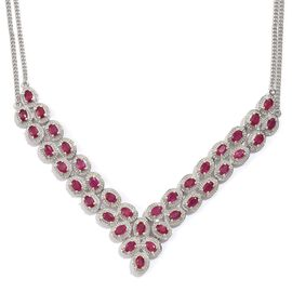 African Ruby (Ovl) Necklace in Platinum Overlay Sterling Silver (Size 18) 19.750 Ct.