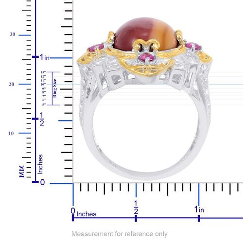 Designer Collection Kennedy Range Mookaite (Ovl 9.38 Ct), Burmese Ruby Ring in 14K YG and Platinum Overlay Sterling Silver 9.835 Ct.
