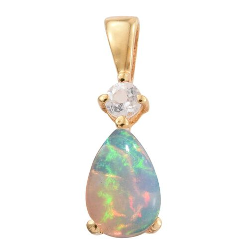 Ethiopian Welo Opal, White Topaz 0.88 Ct Silver Pendant in Gold Overlay