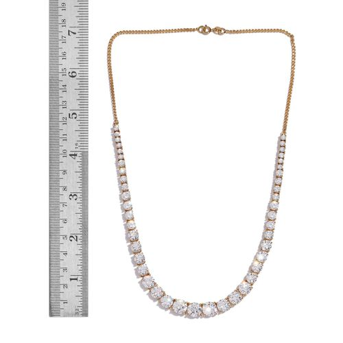 J Francis -14K Gold Overlay Sterling Silver (Rnd) Necklace (Size 18) Made with SWAROVSKI ZIRCONIA