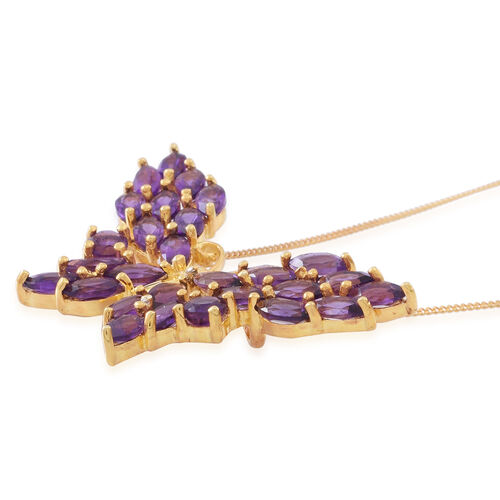 Lusaka Amethyst (Mrq) Butterfly Pendant With Chain in 14K Gold Overlay Sterling Silver 6.000 Ct.