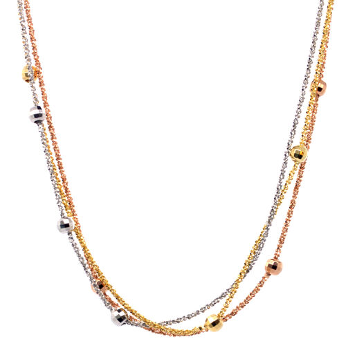 Vicenza Collection Sterling Silver 3 Tone Beaded Necklace (Size 35)