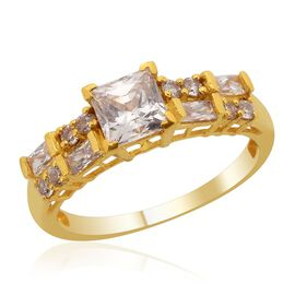 J Francis - 14K Gold Overlay Sterling Silver (Sqr) Ring Made with SWAROVSKI ZIRCONIA 1.920 Ct.