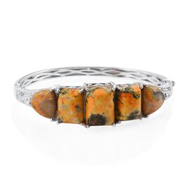 Bumble Bee Jasper (Bgt 14.000 Ct) Bangle (Size 7.5) in Platinum Overlay Sterling Silver 47.000 Ct.