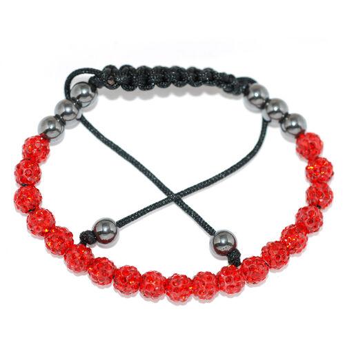 Red Austrian Crystal and Hematite Bracelet (Adjustable)