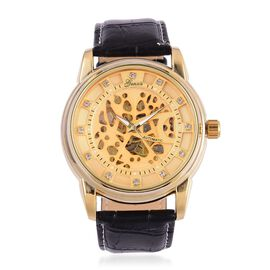 GENOA Automatic Skeleton White Austrian Crystal Studded Golden Dial Water Resistant Watch in Gold Tone with Stainless Steel Back and Black Colour Strap