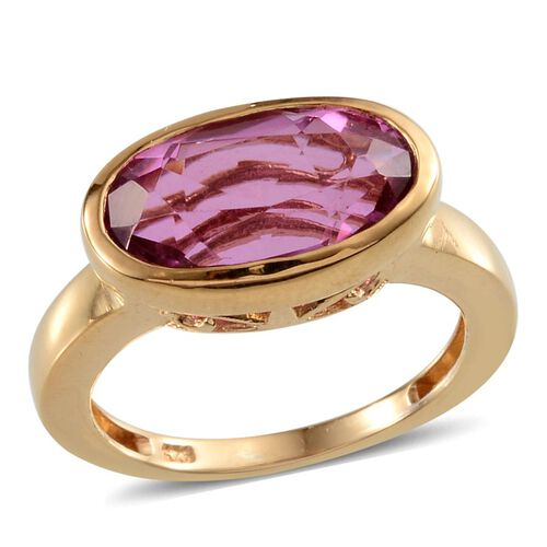 Kunzite Colour Quartz (Ovl) Solitaire Ring in 14K Gold Overlay Sterling Silver 8.000 Ct.