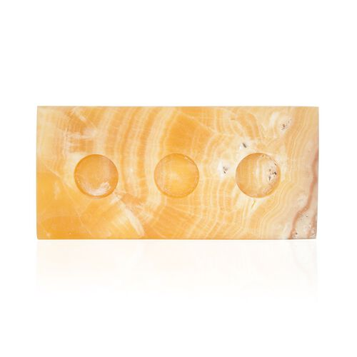 Home Decor - Rectangular Shape Onyx 3 Candle Holders (Size 24x12 Cm)