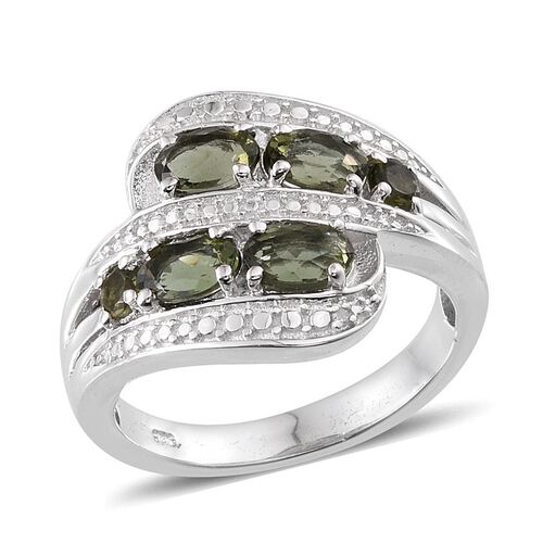 Bohemian Moldavite (Ovl), Diamond Crossover Ring in Platinum Overlay Sterling Silver 1.760 Ct.