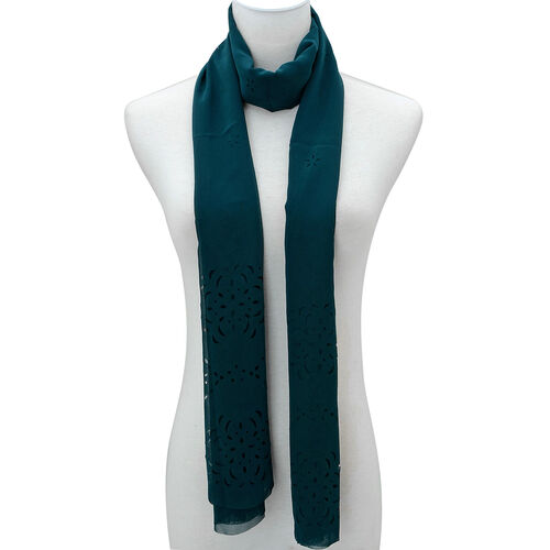 Laser Cut Pattern Dark Green Colour Scarf (Size 160x60 Cm)