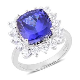 ILIANA 18K W Gold AAA Tanzanite (Cush 8.00 Ct), Diamond Ring 9.500 Ct.