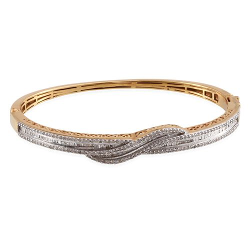 Diamond (Rnd) Bangle (Size 7.5) in 14K Gold Overlay Sterling Silver 1.000 Ct.