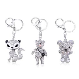 Set of 3 - AAA Black and White Austrian Crystal Enameled Fox and Two Have Teddy Bear Designs Key Chains in Silver Tone