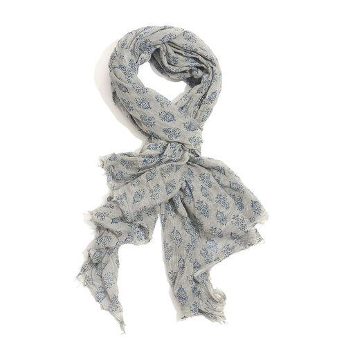 100% Cotton Navy Blue Colour Flowers Printed Grey Colour Scarf (Size 180x100 Cm)