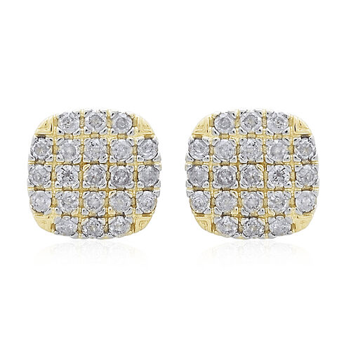 9K Yellow Gold 0.50 Carat Diamond Stud Earrings SGL Certified I3 G H