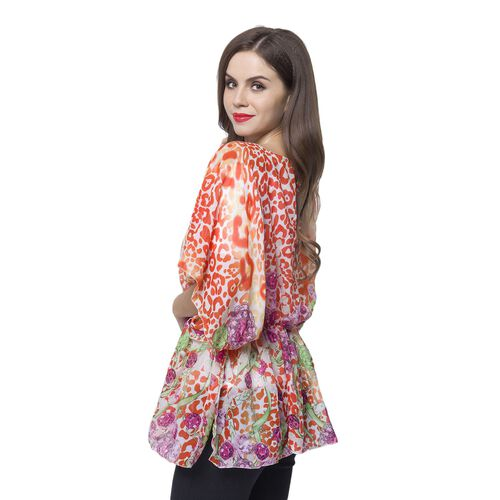 Red, Pink and Multi Colour Leopard and Jewellery Pattern Poncho (Free Size)