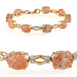 Tanzanian Sun Stone (Ovl), Diamond Bracelet in 14K Gold Overlay Sterling Silver (Size 7.5) 20.800 Ct.