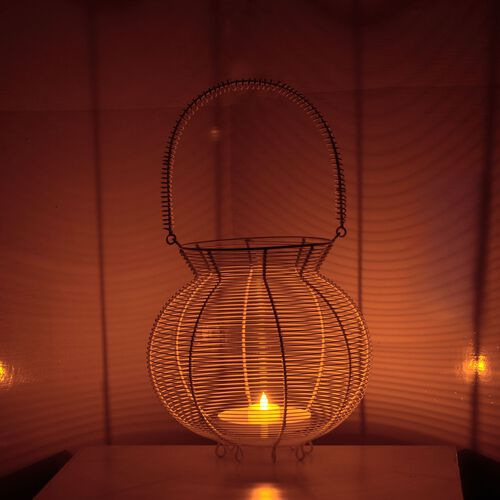(Option 3) Home Decor - Handicraft Lantern Made of White Wire