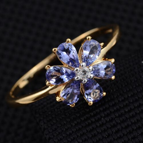 Tanzanite (Pear), Natural Cambodian Zircon Floral Ring in 14K Gold Overlay Sterling Silver 1.250 Ct.