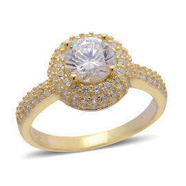 AAA Simulated White Diamond Ring in Yellow Gold Overlay Sterling Silver 0.950 Ct.