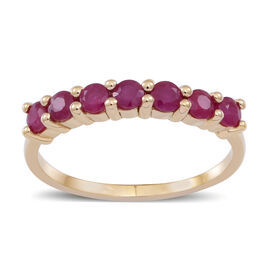 9K Y Gold Burmese Ruby (Rnd) 7 Stone Ring 1.000 Ct.