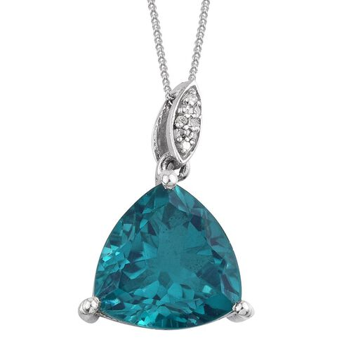 Capri Blue Quartz (Trl 9.75 Ct), Diamond Pendant With Chain in Platinum Overlay Sterling Silver 9.770 Ct.