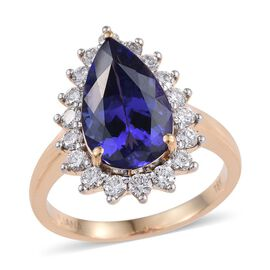 ILIANA 18K Yellow Gold 6.15 Carat AAA Tanzanite Pear Ring, Diamond SI G-H.