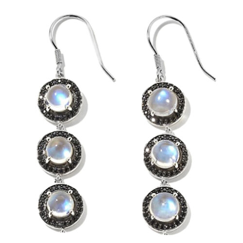 Ethiopian Welo Opal (Rnd), Diamond Lever Back Earrings in Rhodium Plated Sterling Silver 1.810 Ct.