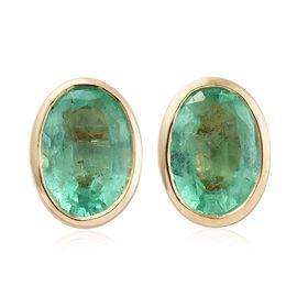 9K Yellow Gold 1.50 ct. Boyaca Colombian Emerald Solitaire Stud Earrings