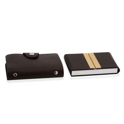 Set of 2 - Dark Chocolate Colour Large (Size 10x7 Cm) and Small (Size 9.5x6.5 Cm) Card Holder in Silver Tone